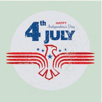 Día de la independencia del 4 de julio en los ee. uu. con plantilla de águila en estilo grunge o vintage