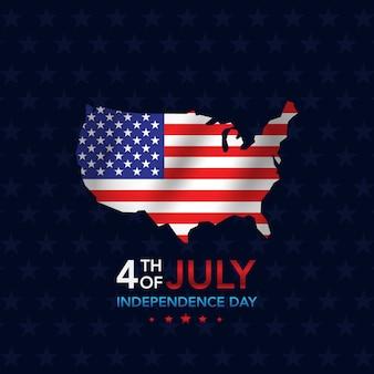 Día de la independencia 4 de julio con mapa.