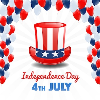 Día de la independencia americana. 4 de julio feriado en estados unidos. antecedentes del día de la independencia. ilustración vectorial