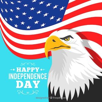 Día de la independencia americana con bandera y águila
