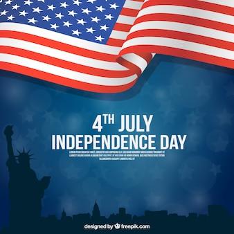 Día de la independencia americana con diseño plano