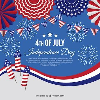 Día de la independencia americana con fuegos artificiales