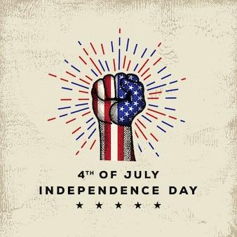 Día de la independencia americana con mano detallada dibujo premium vector