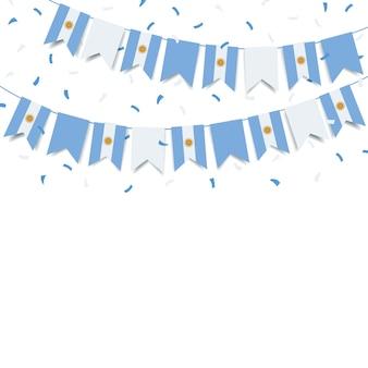 Día de la independencia de argentina guirnalda con la bandera de argentina