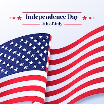 Día de la independencia con bandera y estrellas