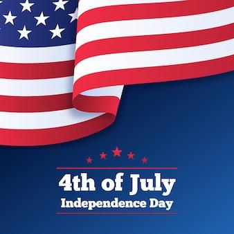 Día de la independencia con bandera
