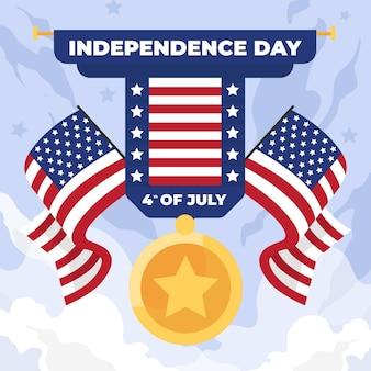 Día de la independencia con banderas y medallas.