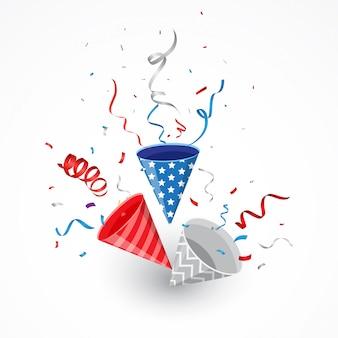 Día de la independencia con confeti americano y fiesta popper