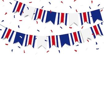 Día de la independencia de costa rica guirnalda con la bandera de costa rica