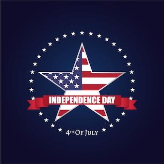 Día de la independencia de los estados unidos de américa en forma de estrella