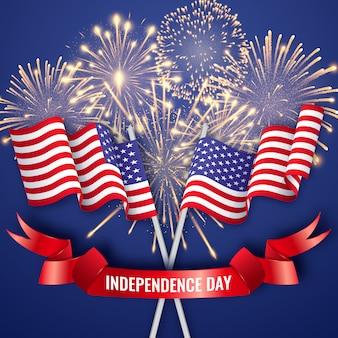 Día de la independencia de estados unidos con dos banderas nacionales americanas, cintas y fuegos artificiales. 4 de julio