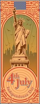 Día de la independencia, estatua de la libertad, fiesta, vector