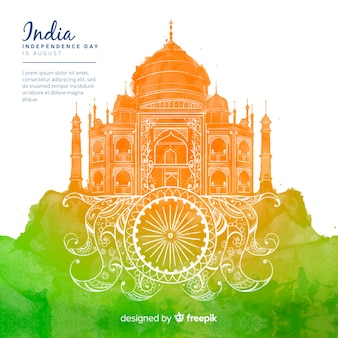 Día de la independencia del estilo de fondo de india acuarela