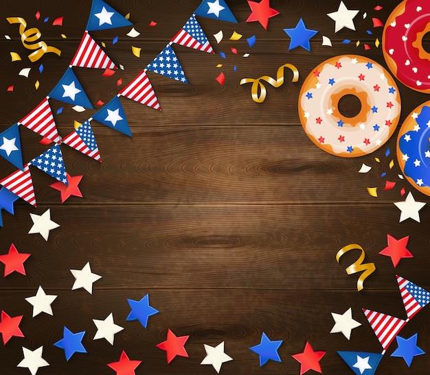 Día de la independencia festivo de madera con guirnaldas de banderas nacionales confeti estrellas y pastelería ilustración realista
