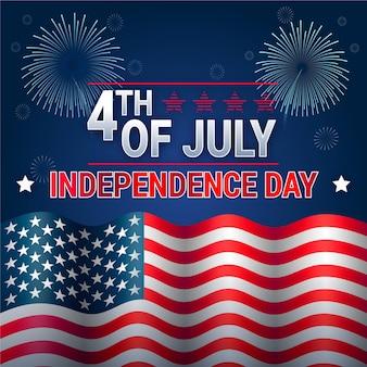 Día de la independencia con fuegos artificiales y bandera
