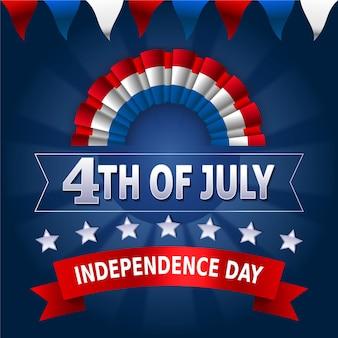 Día de la independencia con guirnaldas y estrellas