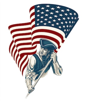 Día de la independencia - ilustración vintage del cuatro de julio
