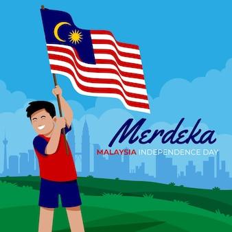 Día de la independencia ilustrado de malasia.