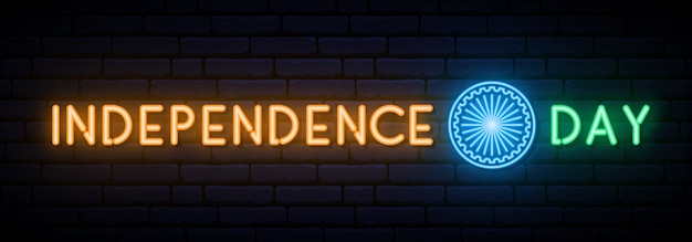 Día de la independencia india efecto de neón