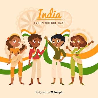 Día de la independencia de la india personas dibujadas a mano