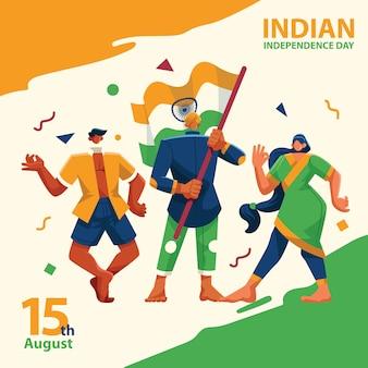 Día de la independencia india personas reuniendo personajes