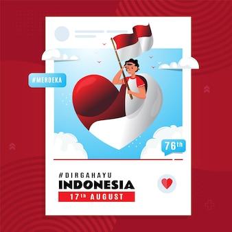 Día de la independencia de indonesia con jóvenes volando ilustración de bandera roja y blanca