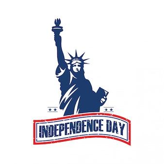 Día de la independencia, el logotipo de la estatua de la libertad