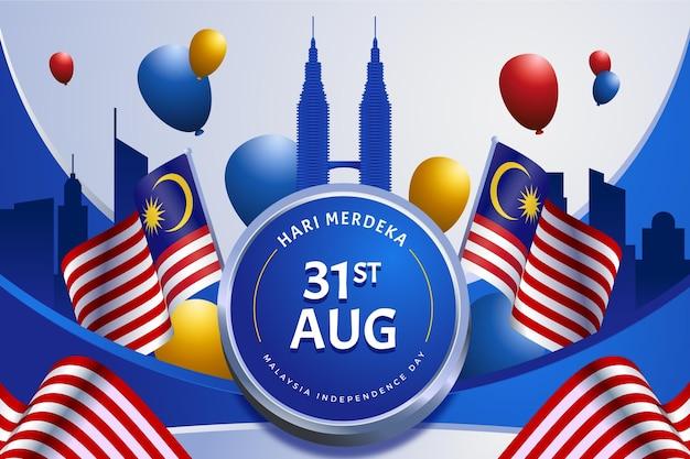 Día de la independencia de malasia con banderas y globos.