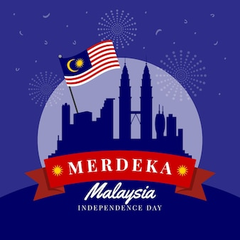 Día de la independencia de malasia evento ilustrado