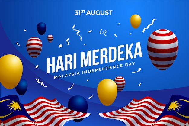 Día de la independencia de malasia con globos.