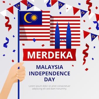 Día de la independencia de merdeka, malasia con banderas