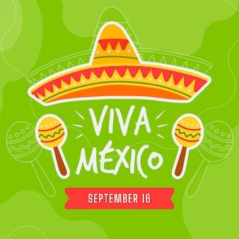 Día de la independencia mexicana en diseño plano