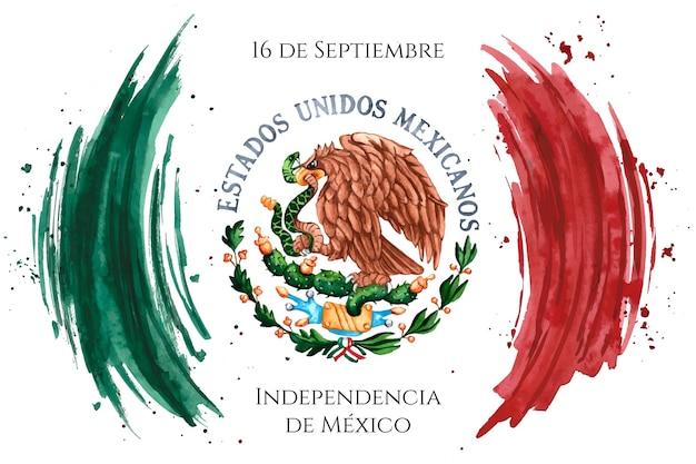 Día de la independencia de mexico acuarela