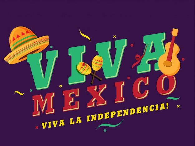 Día de la independencia de méxico simple de sombrero y guitarra