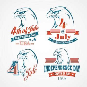 Día de la independencia tipografía y un águila. ilustración