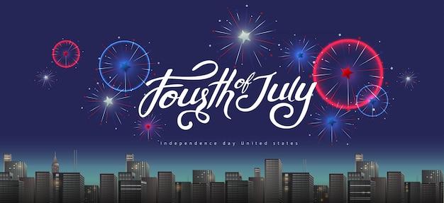 Día de la independencia usa banner plantilla festiva fuegos artificiales sobre la ciudad.