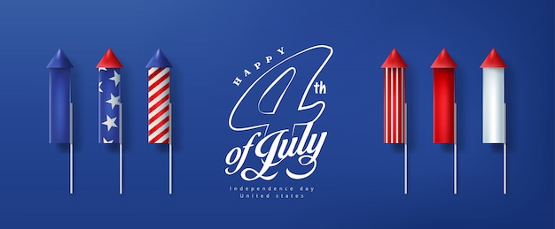 Día de la independencia usa banner template cohetes para fuegos artificiales. 4 de julio celebración