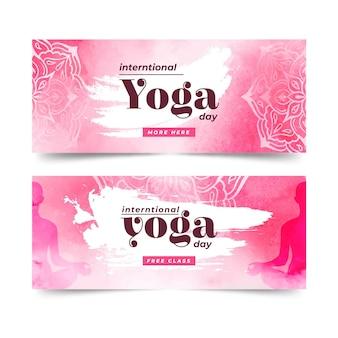 Día internacional de la acuarela del concepto de banners de yoga