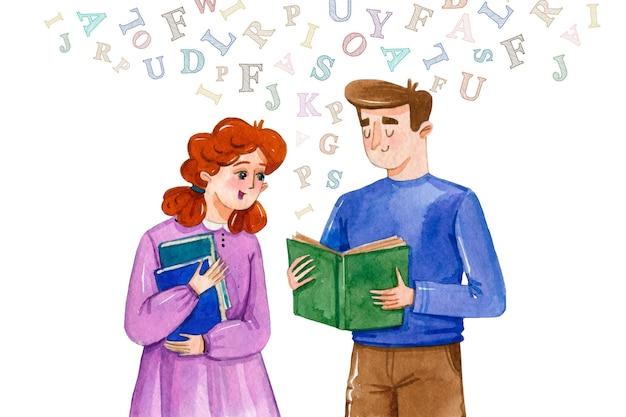 Día internacional de la alfabetización en acuarela