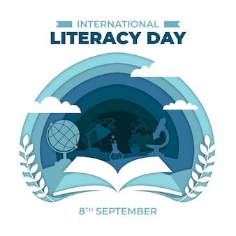 Día internacional de la alfabetización en concepto de estilo de papel