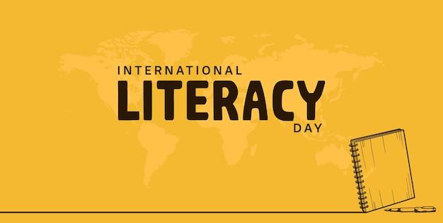Día internacional de la alfabetización con cuaderno, bolígrafo y mapa del mundo aislado sobre fondo amarillo