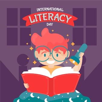 Día internacional de alfabetización dibujado a mano