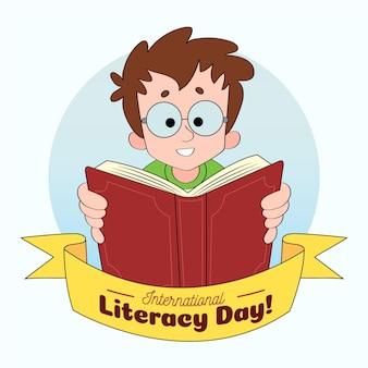 Día internacional de la alfabetización dibujado a mano