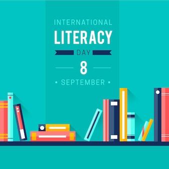 Día internacional de alfabetización de diseño plano