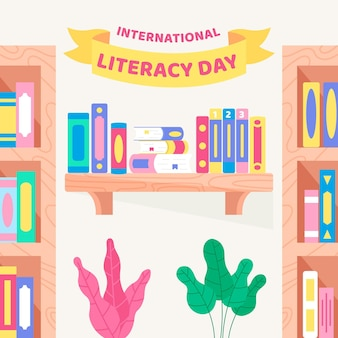 Día internacional de la alfabetización con estantes para libros