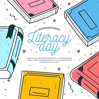Día internacional de alfabetización de estilo dibujado a mano