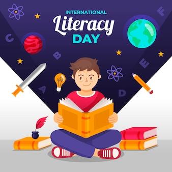 Día internacional de alfabetización de fondo de diseño plano