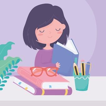 Día internacional de la alfabetización, libro de lectura para niña con gafas, lápices en taza