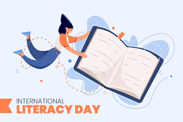 Día internacional de la alfabetización con libro y mujer.