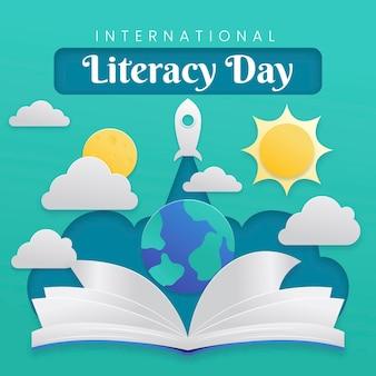 Día internacional de la alfabetización con libro y planeta.